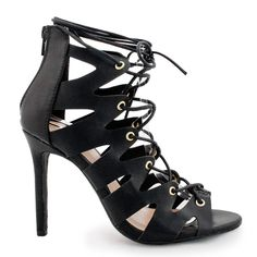 Womens Sexy Cage Strappy Lace Up Stiletto High Heel Pumps -- For more information, visit now : Lace up sandals