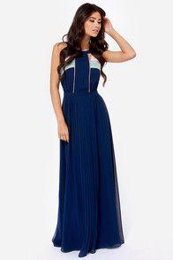 Moonlit Stroll Navy Blue Maxi Dress