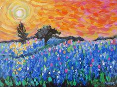 Texas Bluebonnet painting art original impressionist landscape painting by MonaVivarFineArt on Etsy