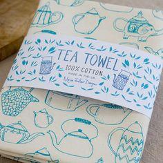 Scattered Teapots Tea Towel by MoiraFullerDesign on Etsy