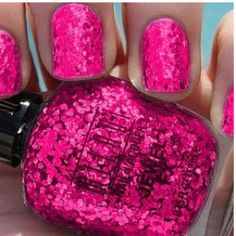 Sparkly pink nail polish