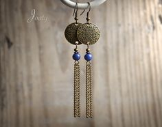 Bronze Earrings, Lapis Lazuli Beads, Prints and Chains Simple Earrings, Diy Earrings, Earrings Handmade, Handmade Jewelry, Copper Jewelry, Wire Jewelry, Beaded Jewelry, Jewelery, Earring Crafts