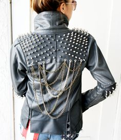 Spikes and Chains Leather Jacket