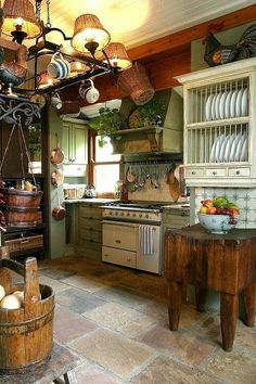 45 French Country Kitchen Design & Decor Ideas - Page 14 of 45 Cozy Kitchen, Shabby Chic Kitchen, New Kitchen, Vintage Kitchen, Kitchen Decor, Summer Kitchen, Kitchen Rustic, Kitchen Country, Rustic Farmhouse