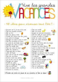 Imprimez le poster compilant 50 idées activités d'été pour les enfants : la to-do-list des vacances !