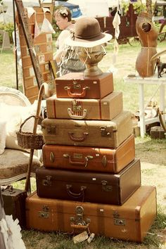 Suitcase stack...can make a nice end table with storage for dvds with 3 or so old suitcases.