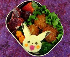 Pikachu Meatball Bento by sherimiya ♥, via Flickr