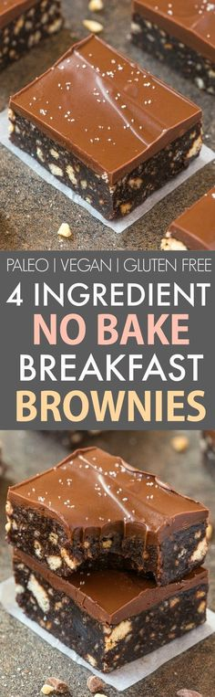 4-Ingredient No Bake Flourless Breakfast Brownies (V, GF, P)- Quick and easy no bake brownies using four ingredients and made in a blender and 100% fuss-free! Super fudgy, melt in your mouth and refined sugar free- A guilt-free chocolate snack or dessert! {vegan, gluten free, paleo recipe}- thebigmansworld.com