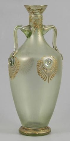 Beautiful tall iridescent glass tall vase by Klástersky Mlyn, Bohemia, 1896