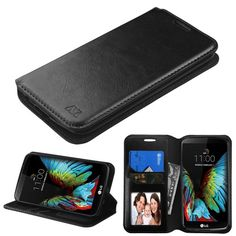 MYBAT Flip Stand Leather Wallet LG K10 Case - Black