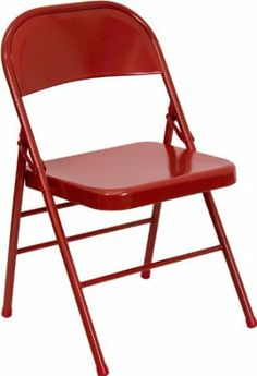 Amazon.com - Flash Furniture HF3-MC-309AS-RED-GG Hercules Series Triple Braced and Quad Hinged Red Metal Folding Chair - Steel Folding Chair...