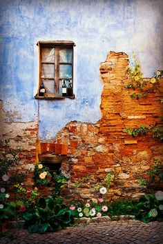 Wall art (transition point from scenery to city) Monforte d'Alba is a municipality in the Province of Cuneo in the Italian region Piedmont. Old Windows, Windows And Doors, Old Bricks, Old Doors, Belle Photo, Porches, Beautiful Places, Scenery, Around The Worlds