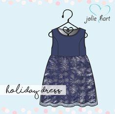 Girls size 4C navy holiday dress, feeding tube adaptive holiday dress, snowflake holiday dress