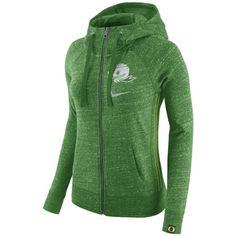 Nike Women's Oregon Ducks Vintage Full-Zip Hoodie ($70) ❤ liked on Polyvore featuring tops, hoodies, green, thick hoodies, green hooded sweatshirt, hooded sweatshirt, full zip hoodies and zip hoodies