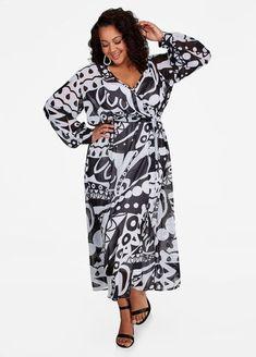 09607c8c81b57 Contrast Print Chiffon Maxi Dress