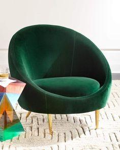 I love this dark green velvet cocoon chair! #velvetfurniture #cocoonchair #modernfurniture #ad