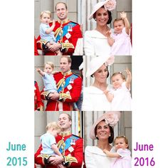 The Cambridge's cutie pies' first Trooping the Colour.  Twenty four month old Prince George in June 2015 and thirteen month old Princess Charlotte in June 2016.