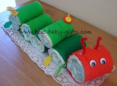 diaper caterpillar: cute baby gift or baby shower decoration for a 'The Very Hungry Caterpillar' or 'Critters' themed shower