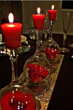 Learn how to create awesome DIY dollar store Christmas decorations you can make in no time. These are really fun and cheap holiday decor ideas that will make perfect Christmas table centerpieces - wine glass candle holders Romantic Table, Romantic Ideas, Romantic Candles, Romantic Dinner Setting, Romantic Bedroom Decor, Romantic Flowers, Beautiful Candles, Romantic Dinners, Valentine's Day Diy