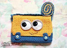 Crochet PATTERN yellow and blue Purse PDF FILE