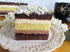 Ciasto na szczególne okazje – biszkoptowe, z czekoladowo-budyniowym kremem, ponczem kawowym i dżemem porzeczkowym dla kontrastu. W p...