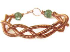 Braided Wire Coil Bracelet Gemstone and by JewelleryByPixie,