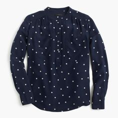 Silk popover shirt in polka dot : | J.Crew
