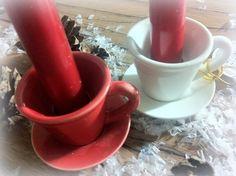 2 KERZENHALTER Tassen Eierbecher Porzellan  + 2 rote KERZEN WEIHNACHTEN Niloaus