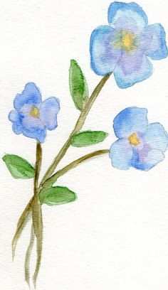 Original watercolor Flowers painting blue purple by VisionDeArte, $25.00
