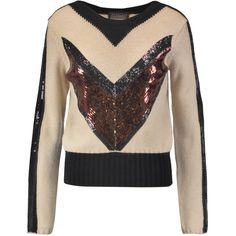 Giambattista Valli Sequin-embellished camel hair sweater (1.970 BRL) ❤ liked on Polyvore featuring tops, sweaters, multi, camel hair sweater, sequined sweater, giambattista valli, slim fit sweater and slimming tops