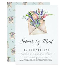 Wildflowers Virtual Baby or Bridal Shower By Mail Invitation Baby Shower Invitation Wording, Bridal Shower Invitations, Custom Invitations, Floral Invitation, Party Invitations, Cheap Baby Shower, Floral Baby Shower, Wildflower Baby Shower, Girl Shower