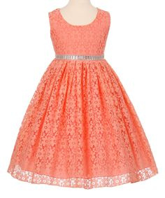Coral & Silver Lace A-Line Dress - Toddler & Girls