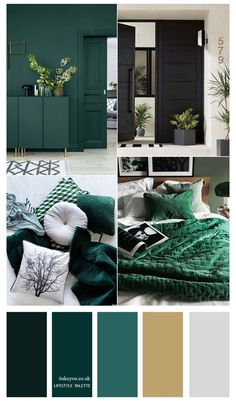 Living Room Green, Bedroom Green, Bedroom Decor, Blue And Orange Living Room, Green And Grey, Colours That Go With Grey, Dark Green Rooms, Green Bedrooms, Teal Living Rooms