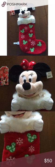 Minnie Mouse Plush Christmas Stocking New! Collectible! Offers Welcome Disney Store Accessories