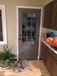 New back door color - seal grey glidden. I like the contrast with the trim and walls (Oatlands subtle taupe - Valspar)