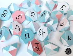 The Diams Advent (free printable) -24 numbered, facet boxes