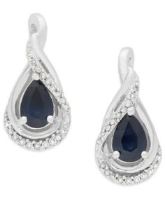 Sapphire (1-1/10 ct. t.w.) and Diamond (1/8 ct. t.w.) Drop Earrings in 14k White Gold