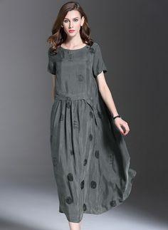 Jedwab Kropka Krótki Rękaw Do Połowy Łydki Nieformalny Suknia