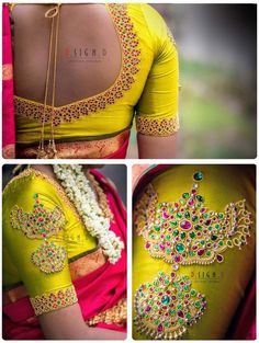 Looking for blouse design to wear with your wedding silk sarees? Here are 19 pretty blouse choices to try and make your special saree even more special. Wedding Saree Blouse Designs, Silk Saree Blouse Designs, Silk Sarees, Blouse Patterns, Wedding Blouses, Wedding Silk Saree, Blouse Back Neck Designs, Seda Sari, Maggam Work Designs
