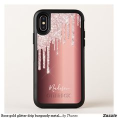 Rose gold glitter drip burgundy metallic name OtterBox symmetry iPhone XS case Rose Gold Pink, Rose Gold Glitter, Samsung Galaxy Cases, Iphone Cases, Tablet Cases, Glitter Phone Cases, Personalized Phone Cases, Copper Metal, Ipad Case