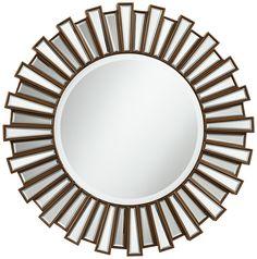 """Golden Sunburst 30"""" Round Wall Mirror -"""