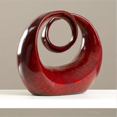 Modern Sculpture Centerpiece Decorative Art Table Top Carving Vase Lot Bowl Red