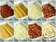 Super Easy No Boil Lasagna Recipe - Creations by Kara - No Boil Lasagna – no need to buy special noodles for this simple lasagna recipe. It is so easy to - Freezer Lasagna, No Boil Lasagna, Baked Lasagna, No Noodle Lasagna, Freezer Meals, Easy Lasagna Recipe, Homemade Lasagna, Yummy Pasta Recipes, Cooking Recipes