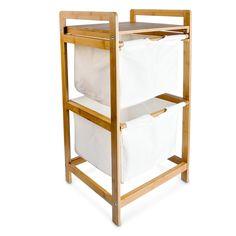 Der Wäschesammler aus Bambus dient zur Aufbewahrung von Textilien und Schmutzwäsche. Dieser Wäschekorb hat zwei separate Fächer aus Stoff.