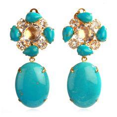Turquoise + Clear Quartz Earrings