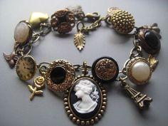 cameo bracelet vintage buttons victorian jewelry   silvertumpet via etsy