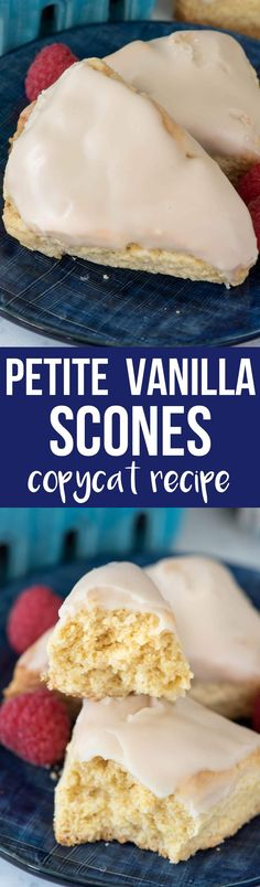 Copycat Petite Vanilla Scones are just like that scone recipe at Starbucks but they're better because they're made at home. This is the best scone recipe because it's made with pudding mix - the scones are pillowy soft and stay soft for days. The flavor of these scones is amazing! via @crazyforcrust