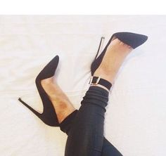 Adal - Black Suede - Guess - Shop at @heelsdotcom - It's all good in the sleek Adal pump by Guess. This sexy D'orsay look is created with a soft black suede upper and adjustable thick ankle strap. A pointed toe and 4 inch stiletto heel perfects the silhouette.