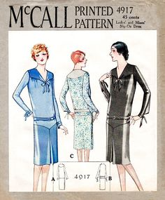 McCall 4917 1920s 20s 1928 slip on dress bow fastening vintage sewing pattern reproduction
