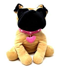 b2c2164ee81 Hugfun International Plush Large Brown 16 in. BULLDOG Stuffed Animal Pink  Collar  HugfunInternational